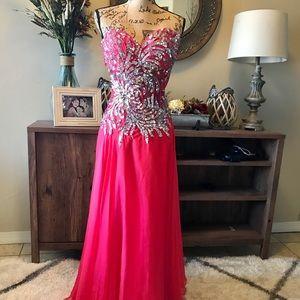 Pretty watermelon prom gown